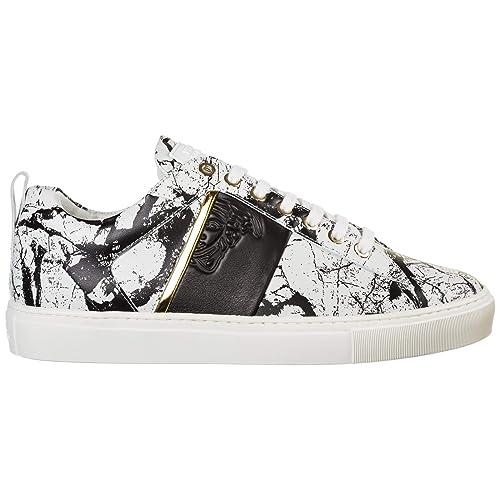 Versace Collection Sneakers Medusa Uomo Bianco - Nero - Oro ...