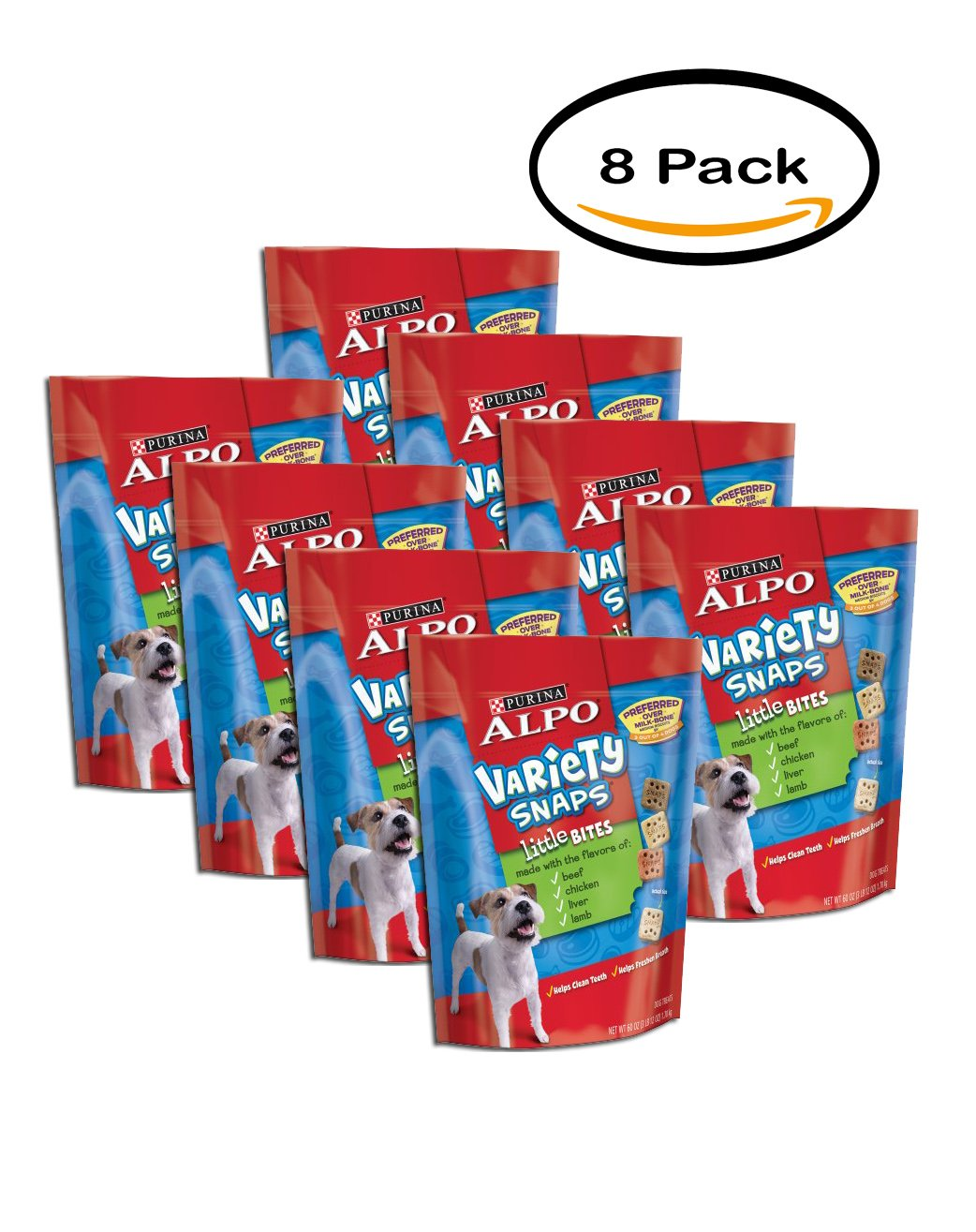 PACK OF 8 - Purina ALPO Variety Snaps Little Bites Dog Treats with Beef, Chicken, Liver & Lamb Flavors 60 oz. Pouch by Purina ALPO Brand Dog Food
