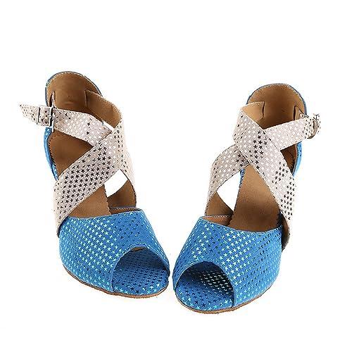 misu - Zapatillas de danza para mujer Azul azul, color Azul, talla 36 2/3