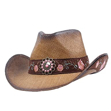534e3d6034e Womens Western Cowboy Hat Men Rolled-up Riding Jazz Cap Breathable Straw  Hats at Amazon Women s Clothing store