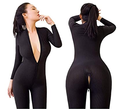 113591fd6f61 Amuhou Womens Open Crotch Jumpsuits Perspective Sexy Zipper Long Sleeves  Corset Catsuit Teddy Cosplay (Black