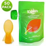 Reusable Food Pouch 6oz (50 Pack) with Spoon - Squeeze Pouches are great for Homemade and Organic Baby Foods.