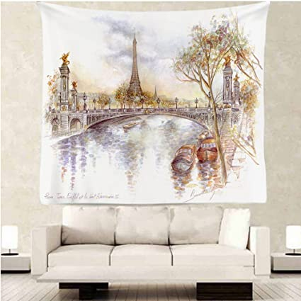 OFloral Paris Eiffel Tower Tapestry Wall Decor By, Watercolor Painting Paris  Eiffel Tower Design,