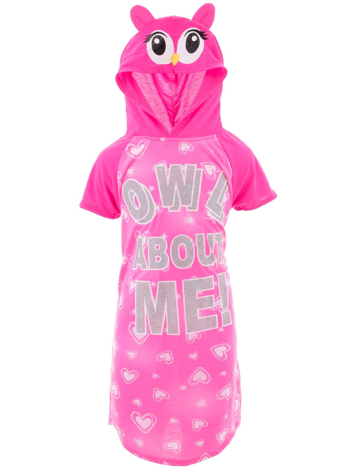 SWEET N SASSY Big Girls' Owl About Me Pink Hooded Nightgown 7-8