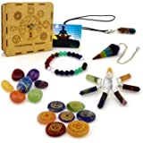 Premium Natural Healing Crystals 7 Chakra Kit 18piece - Engraved Stones, Tumbled Set, Bracelet, Pendant Necklace…
