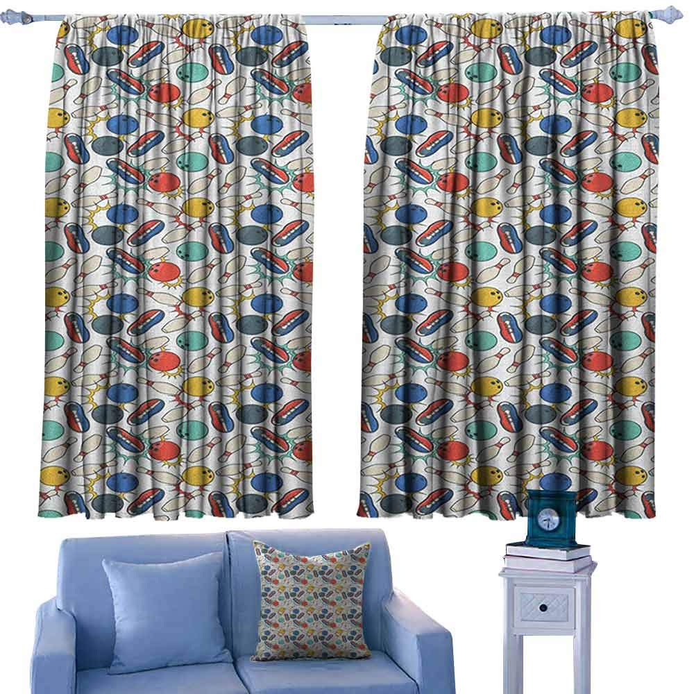 ParadiseDecor Bowling Print Decor Curtains Color Doodle Design on Notebook Sheet Backdrop Ball Pins and Shoes in Retro Style,Print Home Decor Curtains for Bedroom,W72 x L84 Inch