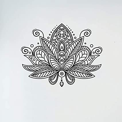 Lotus Flower Wall Decal Mandala Indian Ornament Namaste Vinyl