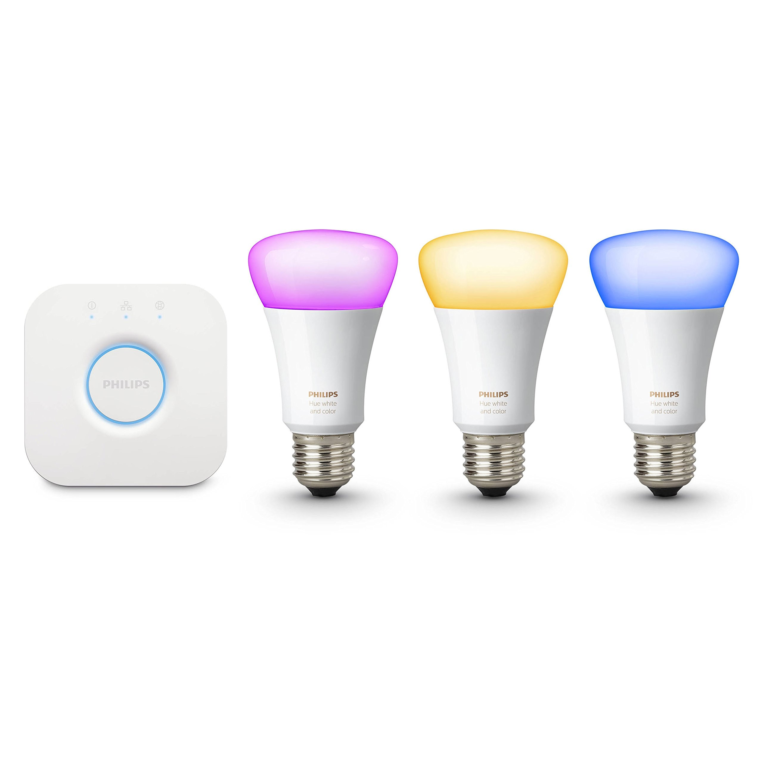 Philips Hue 464479 60W Equivalent White and Color Ambiance A19 Starter Kit, 3rd Generation, Works with Amazon Alexa (Certified Refurbished)