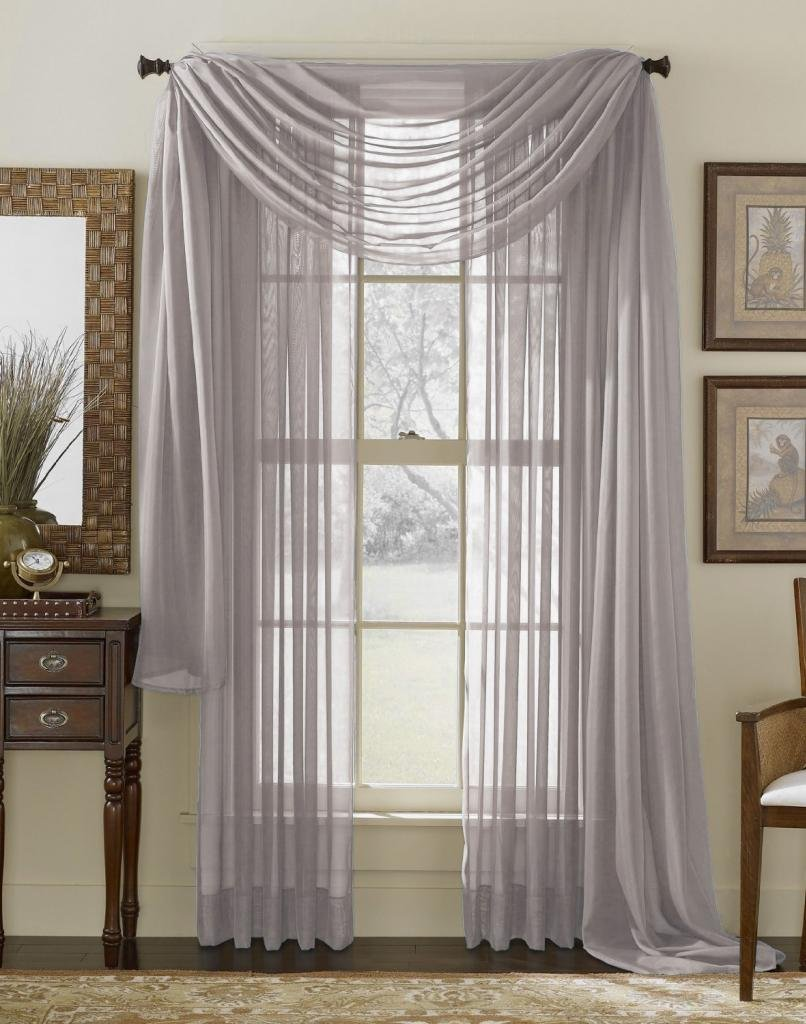 DreamKingdom - 2 PCS Solid Sheer Window Curtains/Drape/Panels/Treatment Silver Color