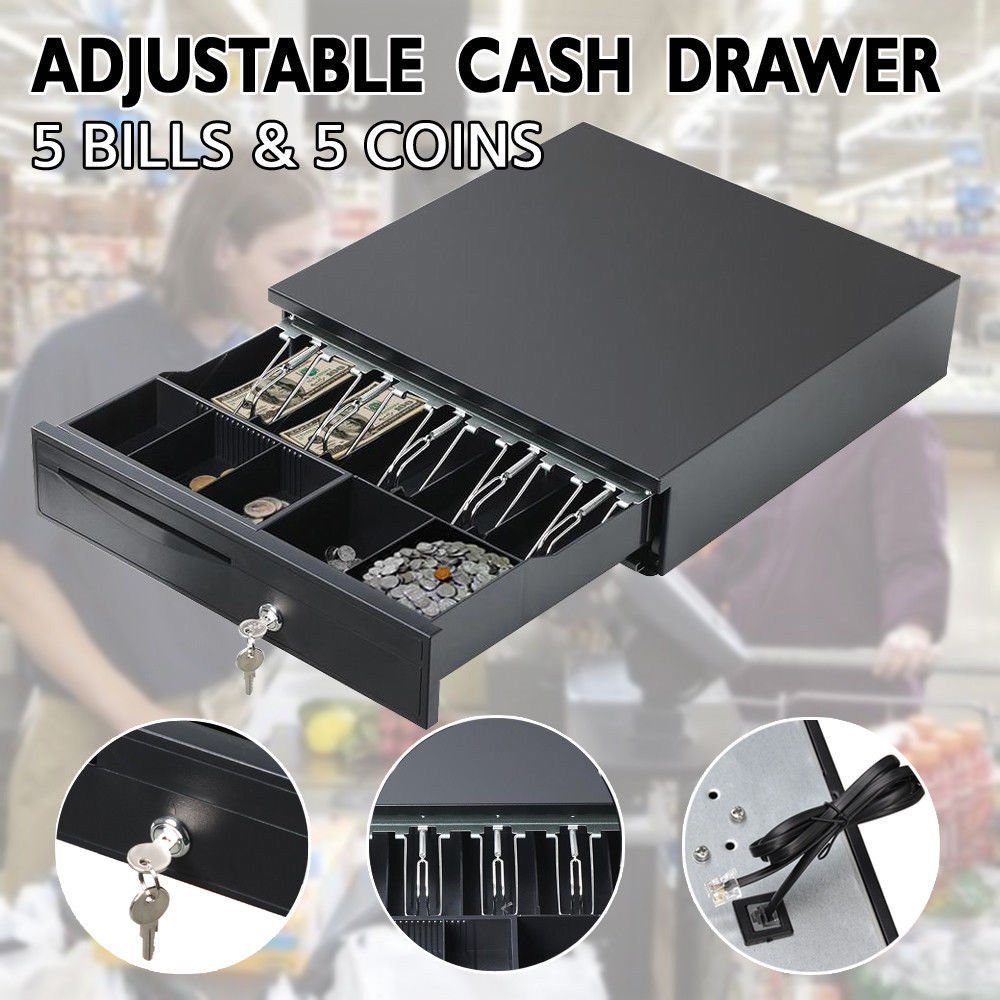 Shop Money Till / Cash Drawer RJ11 Insert for Cash Register Printers Bill Coin Machine - 12V Heavy Duty Cash Till Registers Drawer Small Business / Shop Cash Storage with 5 Bills 5 Coins Tray Removable Check Insert AutoFu factory