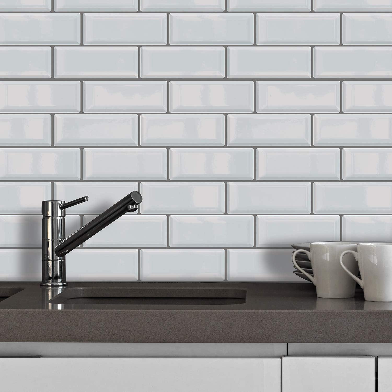 Amazon Com Glossy 3d Metro Peel And Stick Tile Kitchen Backsplash Mosaics Tile Sticker Tile Paint Splashback Self Adhesive Removable Water Heat Resistant Bathroom Kitchen Decor 1 Pack 12 Pieces White Home