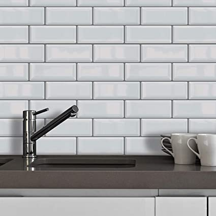 Walplus Off White Premium Glossy 3d Metro 12 Sheets Tiles Sticker Wall Splashbacks Mosaics Tile Paint Self Adhesive Glass Peel And Stick Bathroom Kitchen Tile Stick On Tile Wall Backsplash Amazon Co Uk Kitchen