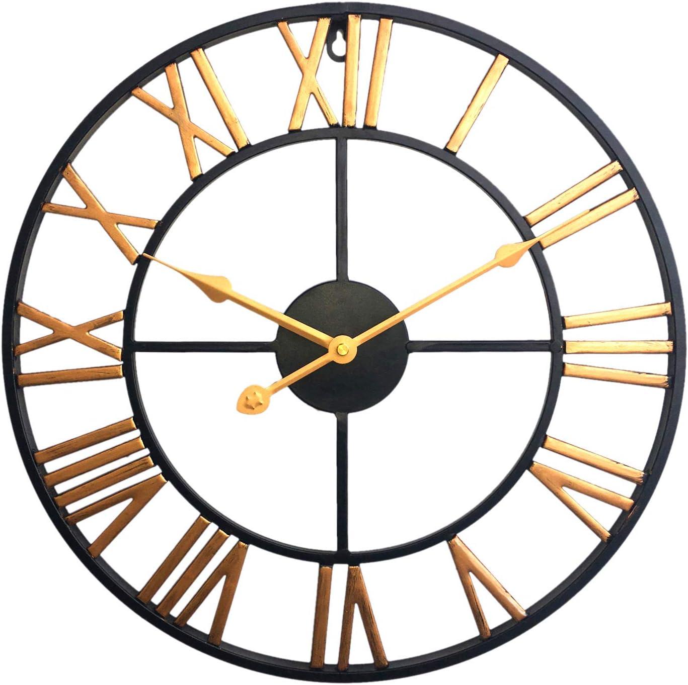 Winni43Julian 40cm Orologio da Parete Vintage Orologio da Muro Silenzioso Moderno Orologio da Muro Silenzioso Metallo Argento