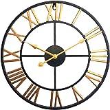 Jo332Bertram 40cm Reloj de Pared Silencioso - 3D Relojes de Pared de Hierro Estilo Vintage para…
