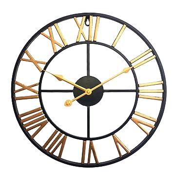 MRKE 40CM 3D Reloj Pared Vintage Grande XXL Silencioso Metal Retro Tridimensional Número Romano Design Reloje de Pared para ...