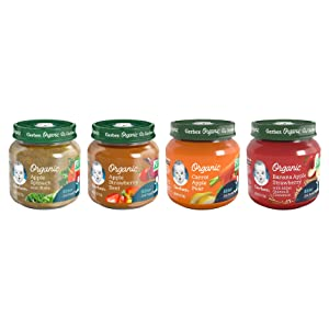 Gerber 2nd Foods Organic Jars Variety Pack, 3 Carrot Apple Pear, 3 Banana Apple Strawberry, 3 Apple Strawberry Beet, 3 Apple Spinach Kale, 12-CT
