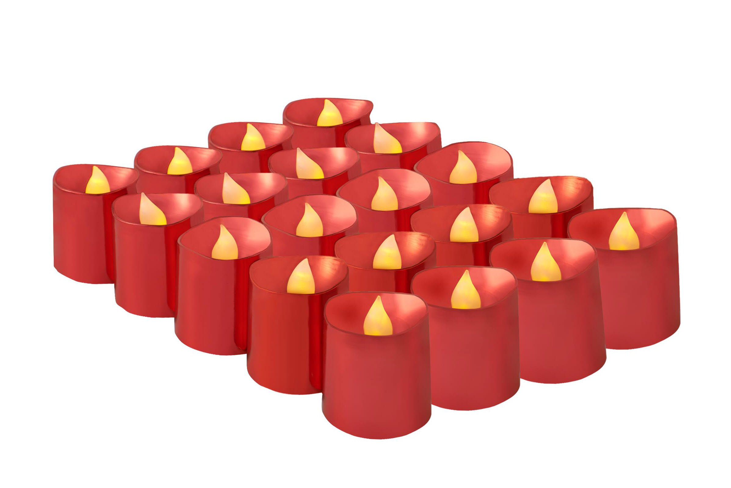 Brightpik Premium Flameless Candles - Set of 20 LED Battery Operated Votive Tea Lights - Red Plated