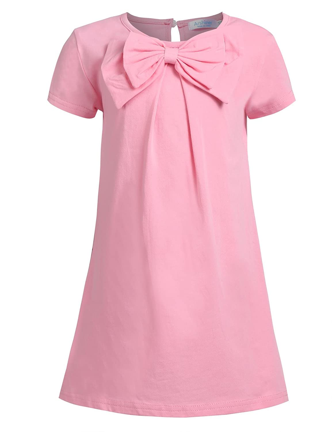 Arshiner Girls Long Sleeve Dress Solid Color Kids Causal Dress with Bow Tie AMS005304