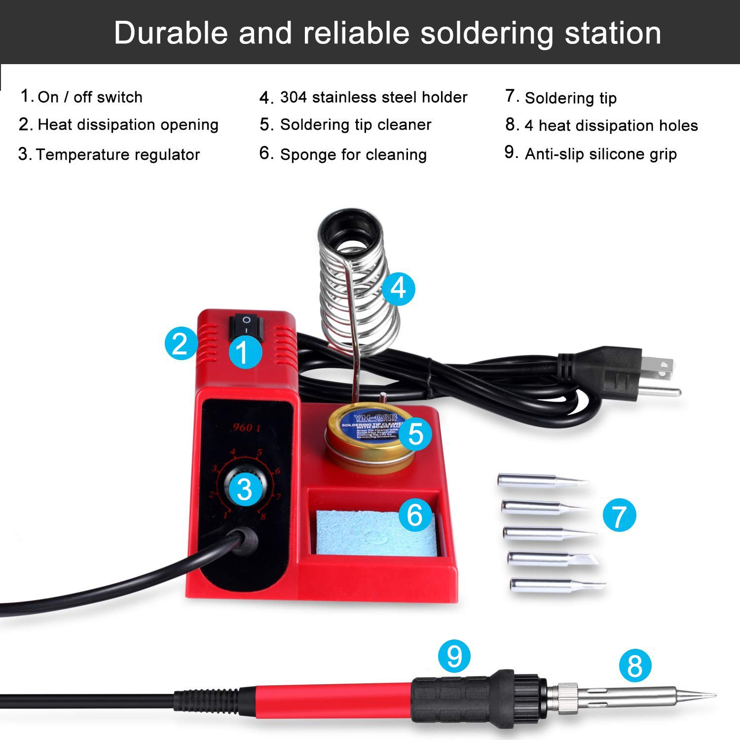 60W Soldering Iron Station, 8 Level Adjust Temperature Control, Ergonomic Soldering Iron, Solder Holder, 5 pcs Different Tips and Brass Tip Cleaner (960D) by TFLY (Image #4)