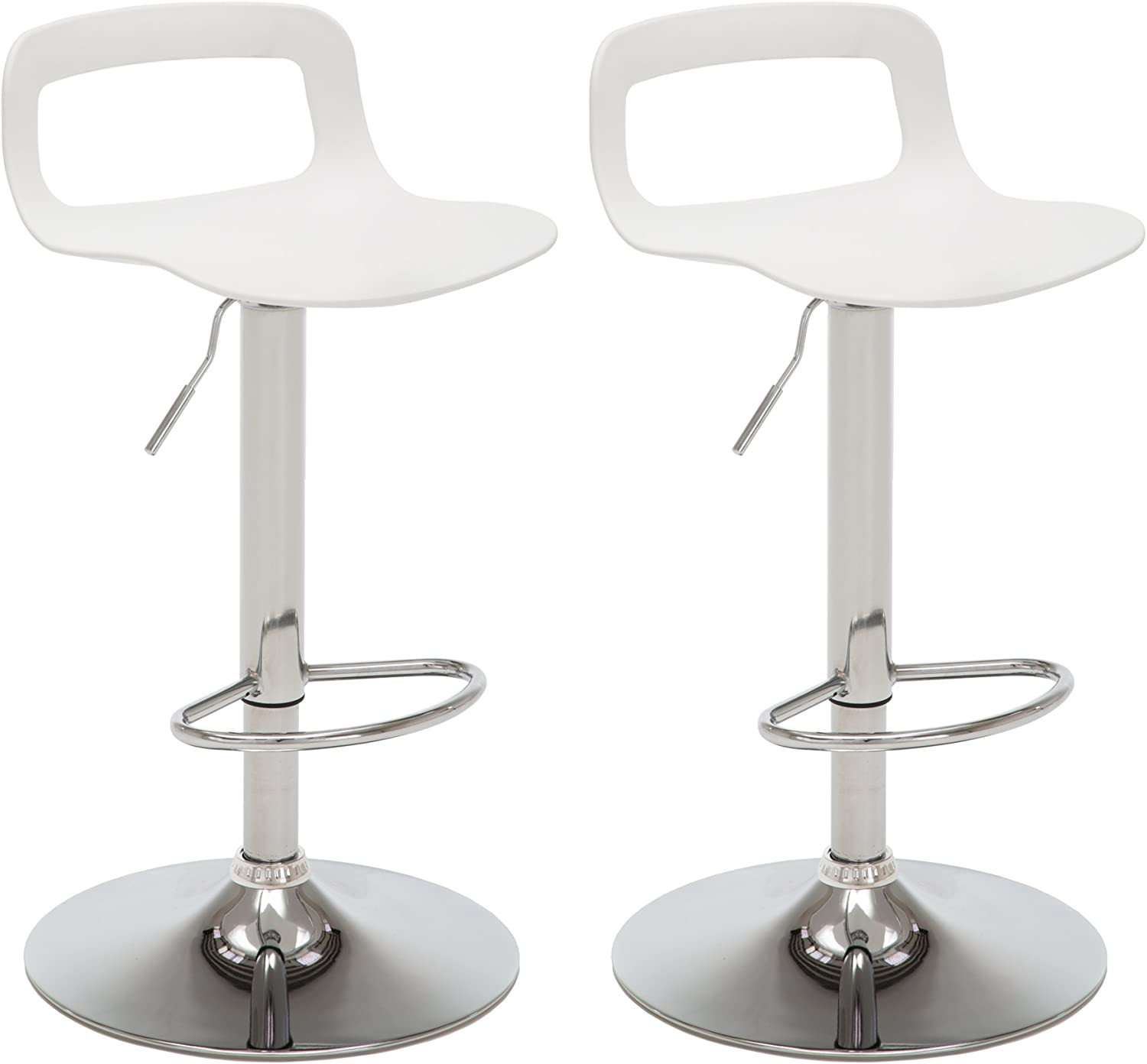 NOBPEINT Contemporary Chrome Air Lift Adjustable Swivel Bar Stool, Set of 2, White