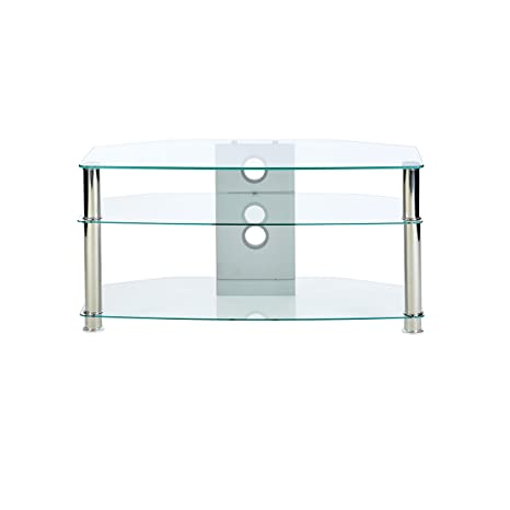 Jet MMT CL1000 - mobile porta tv in vetro trasparente - gambe cromate - per  fino a 119,38 cm LCD/LED schermi - 1000 mm larghezza