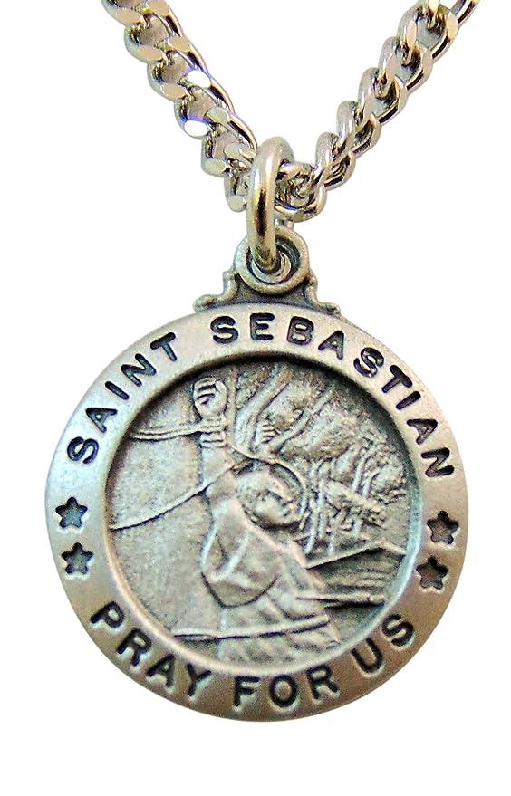Amazon.com: Ronda peltre Cadena de plata Medalla de San ...