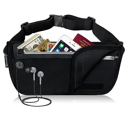 77171133dcd357 MYCARBON Money Belt for Travel,Secure Fanny Pack with RFID  Blocking,Waterproof Passport Holder