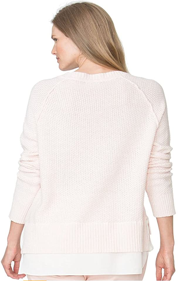 Chaps Women's Plus Size Layered Look Crewneck Sweater, Pink at ...