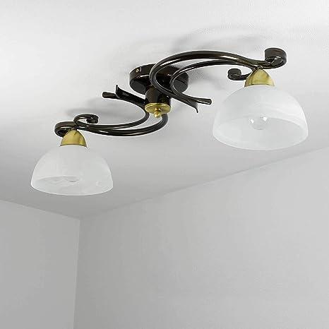 Deckenleuchte in Weiß 2x E27 Innenlampe Deckenlampe Floral Decke Leuchte innen