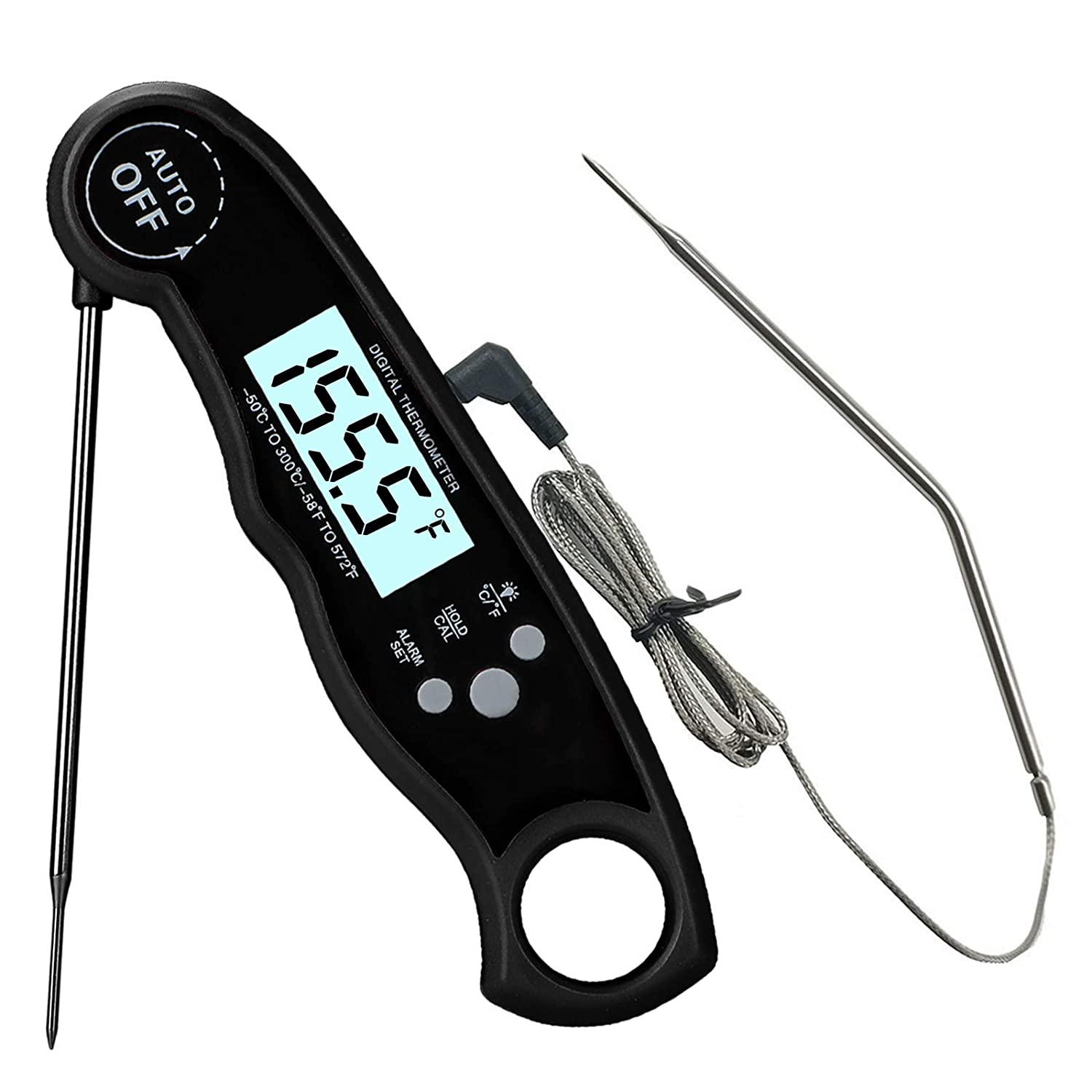 Food Thermometer, Digital Food Thermometer Instant Read, Meat Thermometer for Cooking, Grilling, Smoking, Baking, Turkey, Milk, Dual Probe Thermometer 2 in 1 Function(Black)