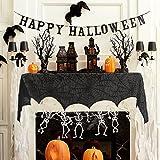 Decoraciones de Halloween Telaraña - RECESKY 240*34cm Chimenea de Halloween - bufanda de encaje negro para la fiesta de Halloween, Interior, Puerta, Ventana, Hogar, Cortina, Decoraciones de mesa