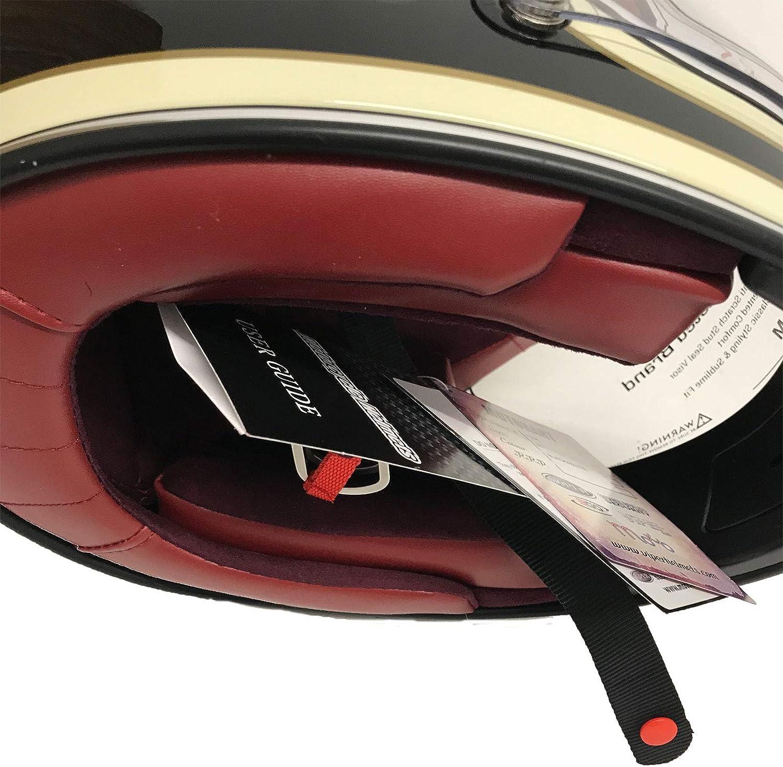 Viper F656 Fiberglas Vollgesichtsmotorrad Retro Klassisch Helm Schwarz und Cremewei/ß Fahrradschutzausr/üstung XL 61-62 CM