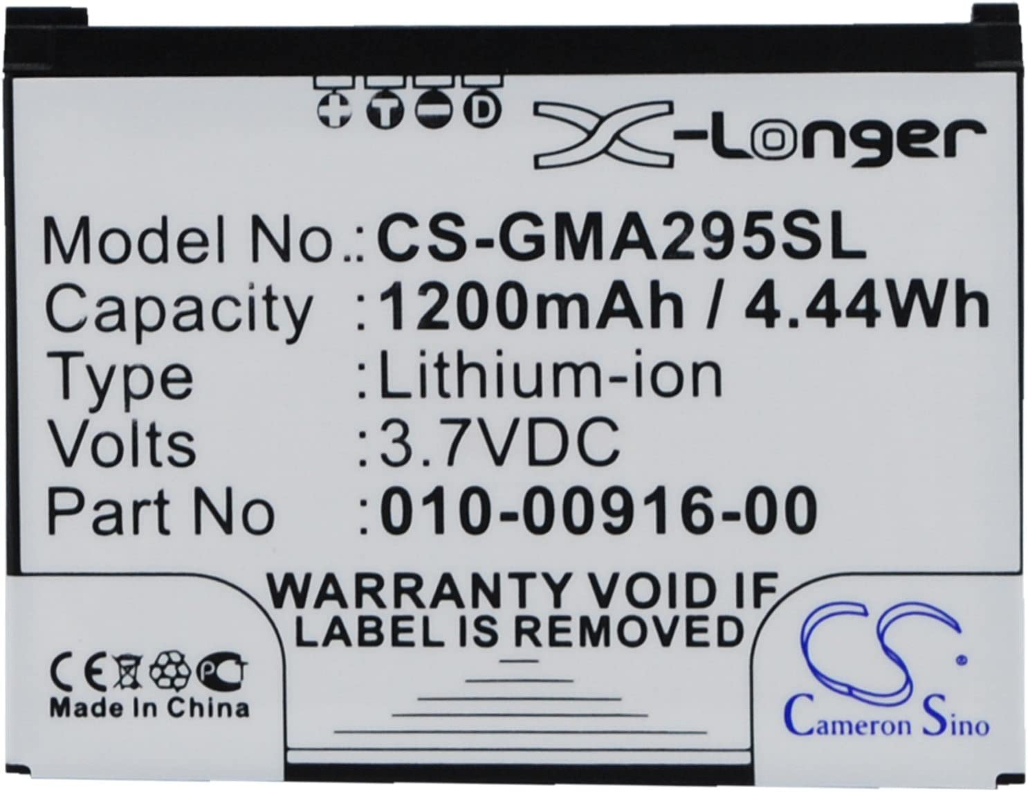 Cameron Sino 1200mAh Battery for Garmin Nuvi 295 Nuvi 295W