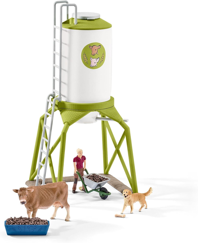 Schleich- Colección Farm World Set de Figuras de Silo de Comida con Animales, Accesorios y Funciones (41429)