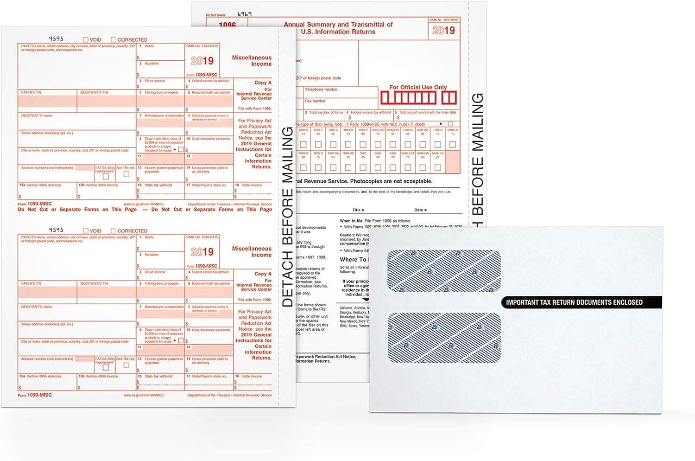-- 10 recipients + 2 Form 1096 carbon 2017 IRS Tax Form 1099-MISC 5 sheets