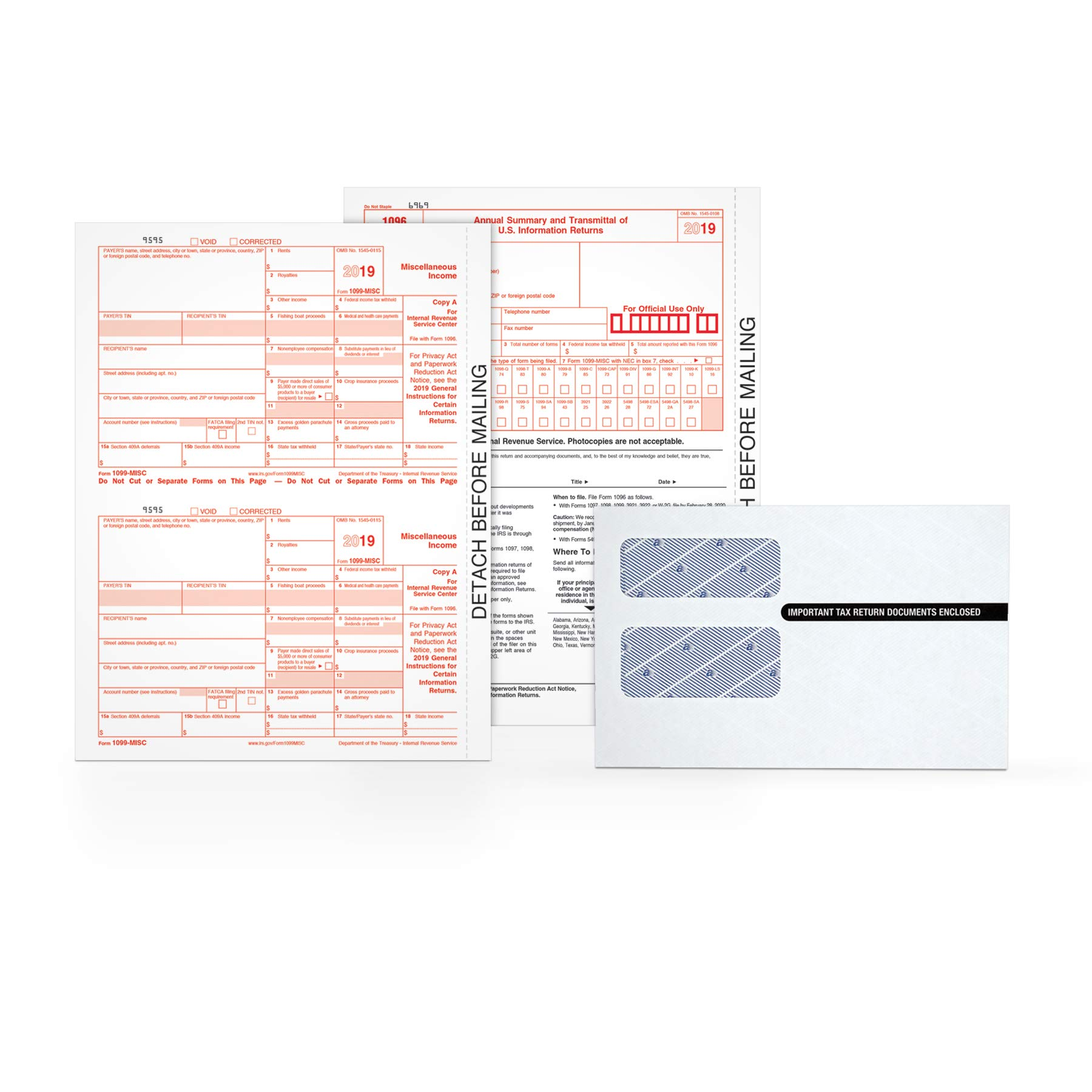 TOPS 1099-MISC Tax Forms Kit for 2019, 5-Part Inkjet/Laser Form Sets for 26 Recipients, 3 1096 Summary Forms, 26 Peel & Seal Envelopes (TX22905KIT) by TOPS