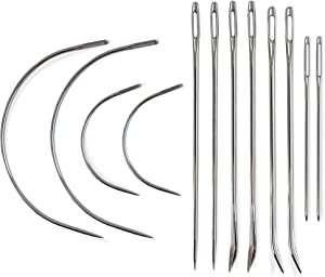 Heavy Duty Hand Sewing Needles Set - 12 Needles for Upholstery, Leather, Carpet Canvas Repair