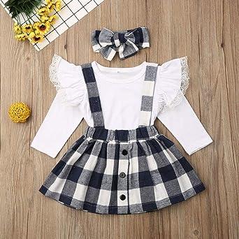 Sameno 3Pcs Toddler Kids Baby Girls Overalls Skirt Headband+Romper Summer Dress Skirt Dress Clothing Outfit