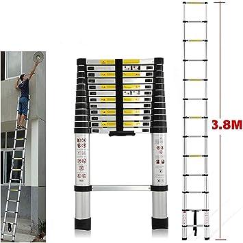 Escalera de aluminio liviana/Extensión telescópica Plegable, retráctil, ajustable, estilo, subir 13 pasos, 12.5 pies / 330 libras de capacidad: Amazon.es: Bricolaje y herramientas