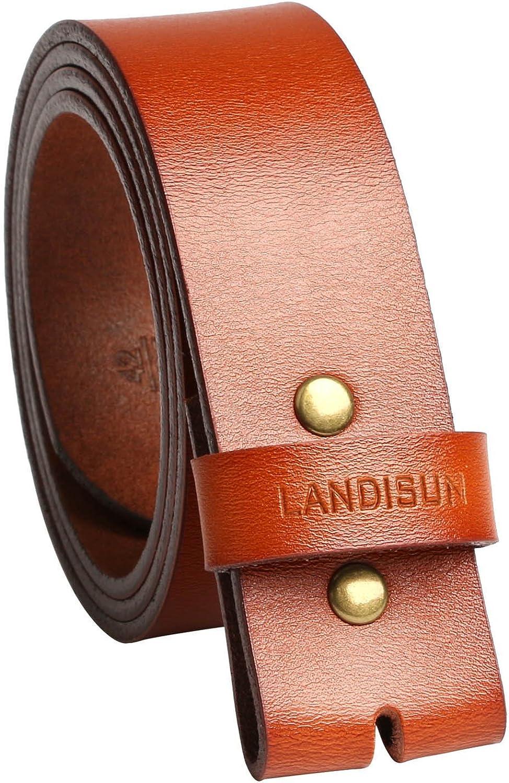 Landisun Leather Belt Grain Smooth Style Snap on Belt Strap 1 1//2 Wide Light Brown 52 L x 1.5 W