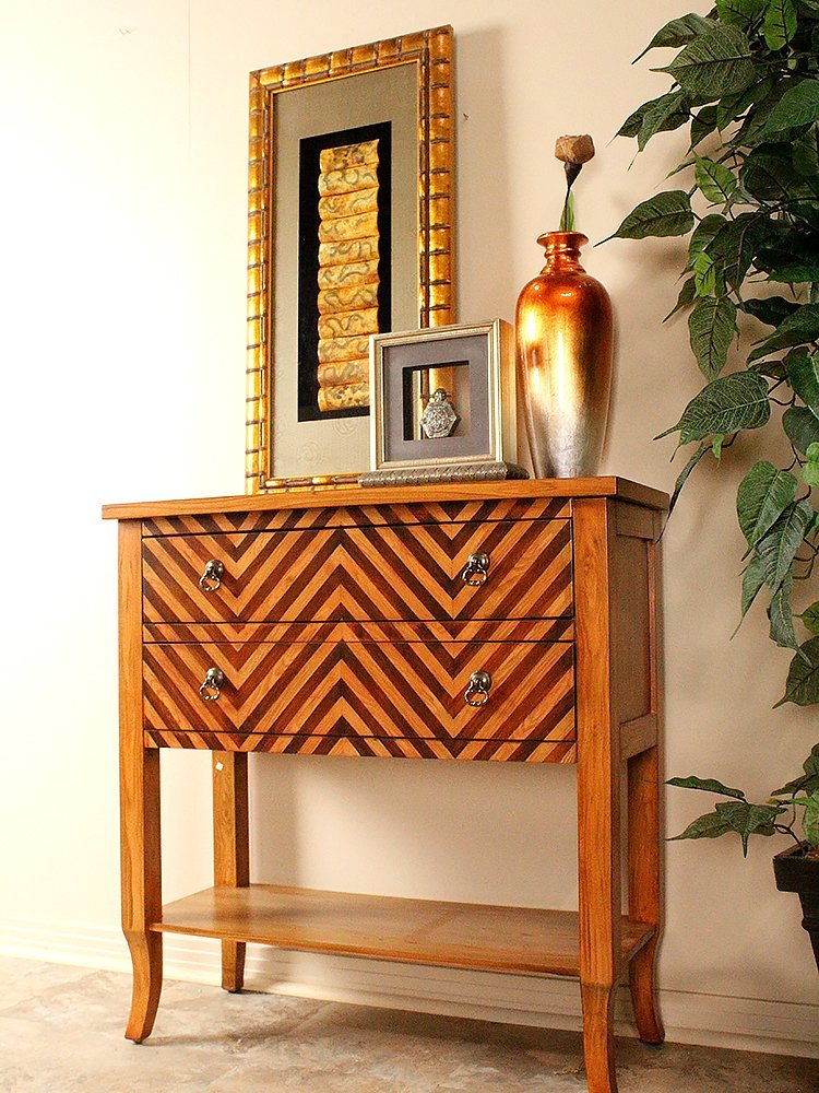 Heather Ann Creations Heirloom Collection Handcrafted 2 Drawer Chevron Accent Console with Shelf, 33'' x 13'' x 32'', Woodtone by Heather Ann Creations (Image #3)