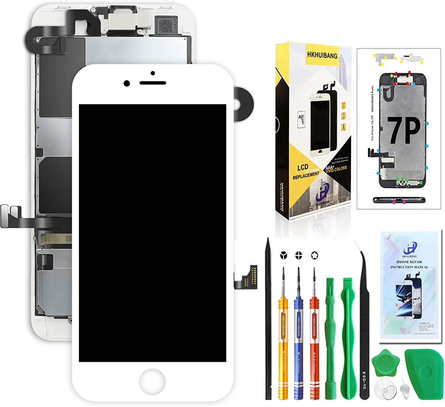 Screen Replacement for iPhone 7 Plus A1661 A1784 A1785 White 5.5'',Pre-Assembled LCD Touch Digitizer Display Full Assembly with OEM Front Camera Proximity Sensor Earpiece Speaker Repair Tool