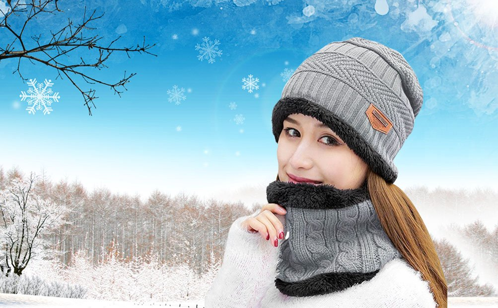 HindaWi Womens Beanie Winter Hat Scarf Set Slouchy Warm Snow Knit Skull Cap  NT2331-1 71871f411d2e