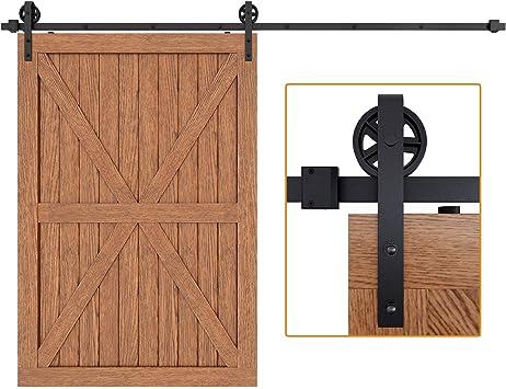 Vintage correa Industrial rueda puerta corrediza de granero madera Hardware Kit de pista: Amazon.es: Bricolaje y herramientas