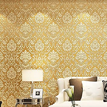 Huangyahui Simple European Style Thickening Non Woven Wallpaper 3d Blue Gold Yellow Wallpaper Bedroom Living Room Dining Room Sofa Tv Background Wallpaper Golden Amazon Co Uk Diy Tools