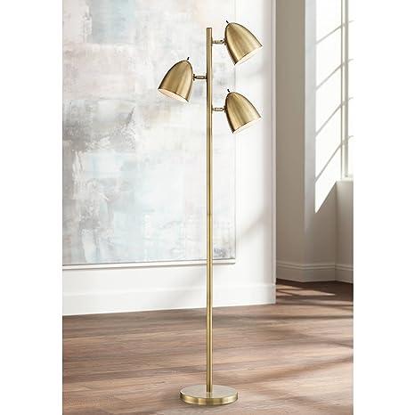 Aaron Mid Century Modern Floor Lamp Aged Brass 3-Light Tree ...