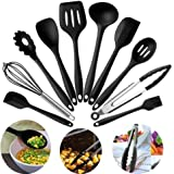 SYGA Silicone Kitchen Utensils Spoon Set, 10 Pieces Silicone Cooking & Baking Tool Sets Non-Toxic Hygienic Safety Heat Resistant_Black