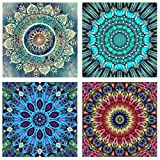 Topus 4 Pack 5D DIY Diamond Painting Set Full Drill Paint Crystal Rhinestone Diamond Embroidery Paintings Pictures for Study Room,Flower Painting(25X25CM/9.8X9.8inch)