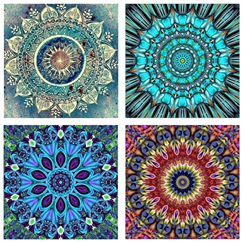- Topus 4 Pack 5D DIY Diamond Painting Set Full Drill Paint Crystal Rhinestone Diamond Embroidery Paintings Pictures for Study Room,Flower Painting(25X25CM/9.8X9.8inch)