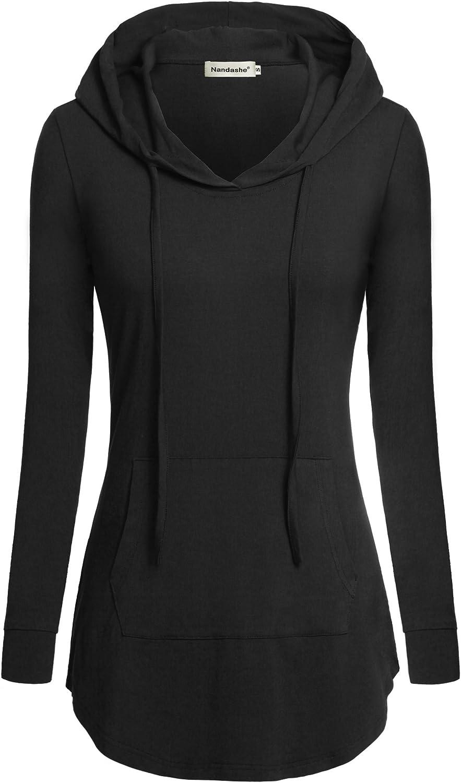 Nandashe Women Pullover V-Neck Long Sleeve Kangaroo Pocket Tunic Hoodies: Clothing